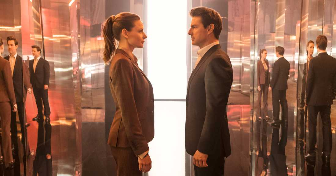 "Rebecca Ferguson som Ilsa Faust och Tom Cruise som Ethan Hunt i den senaste ""Mission: Impossible""-filmen ""Fallout""."