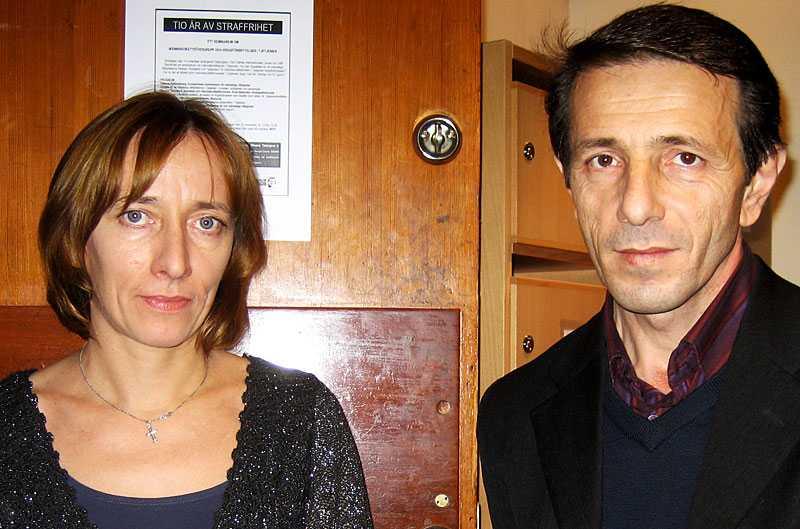 Oksana Tjelysjeva och Usam Bajsajev, människorättsaktivister som jobbar för Tjetjeniens rättigheter.