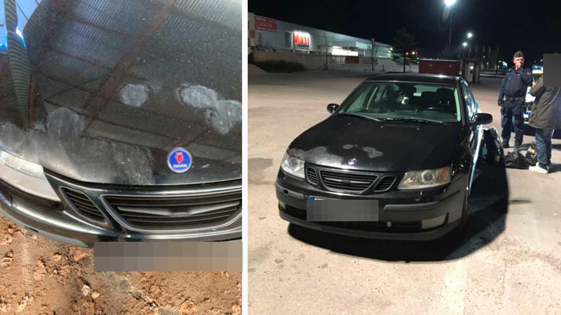 34-åringen skadade bilen som han körde under färden.
