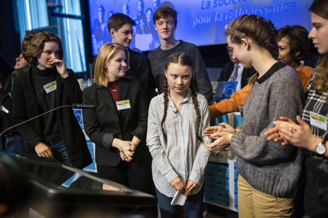 """""""Vi skolstrejkar för att vi har gjort våra läxor"""", säger Greta Thunberg vid ett seminarium om framtidsfrågor i Bryssel."""
