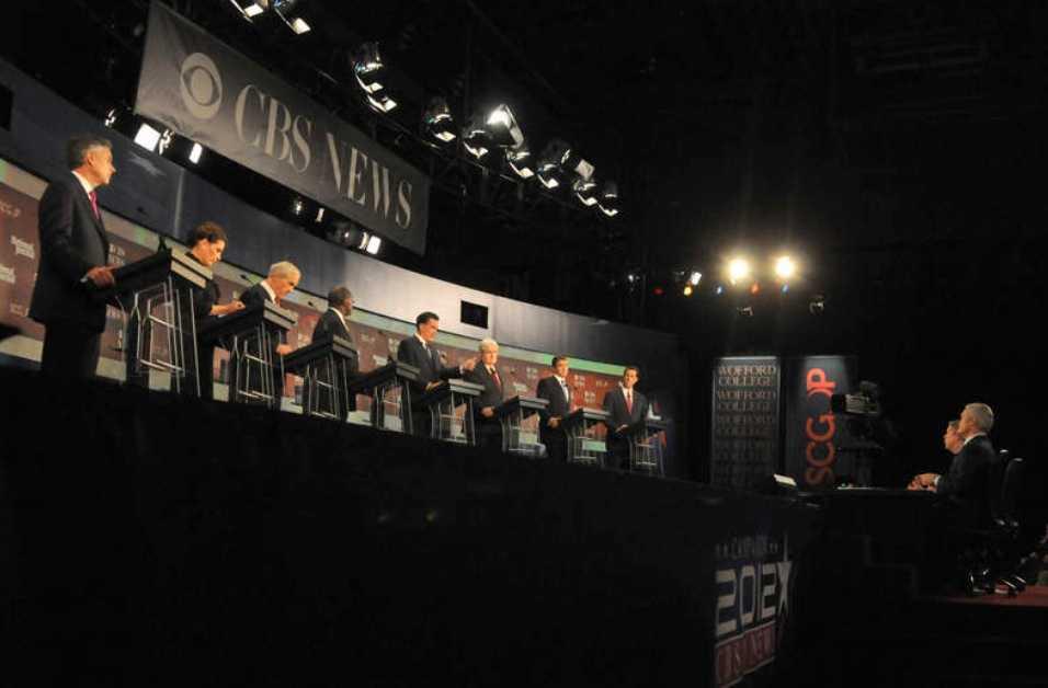 Redo för strid De åtta reublikanska kandidaterna från vänster till höger; Jon Huntsman, Michele Bachmann, Ron Paul, Herman Cain, Mitt Romney, Newt Gingrich, Rick Perry och Rick Santorum, i Spartanburg, South Carolina.