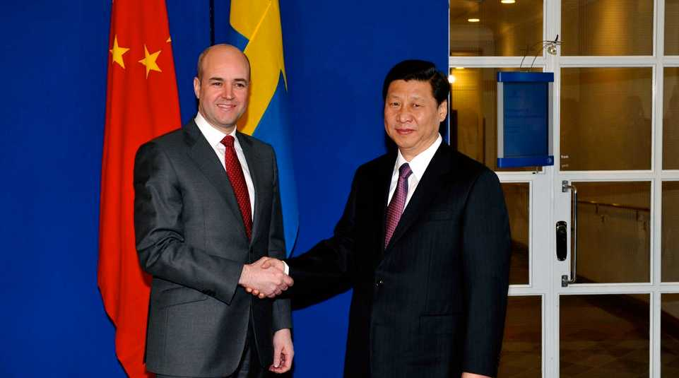 Fredrik Reinfeldt tog emot Kinas vice president Xi Jinping i Rosenbad för några dagar sen.
