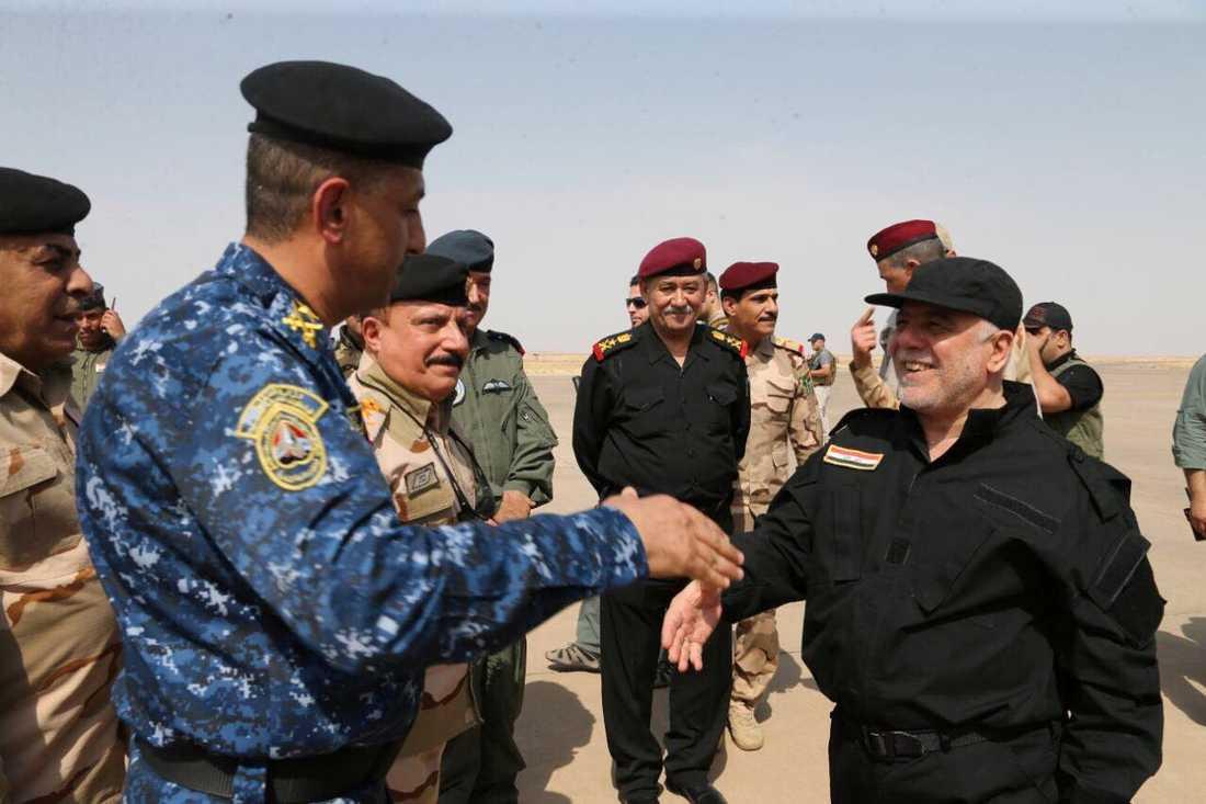 Iraks premiärminister Haider al-Abadi besökte Mosul under söndagen.