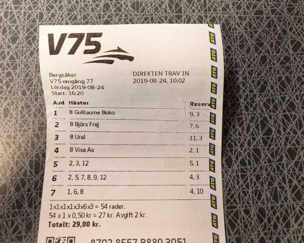 Det vinnande V75-systemet.