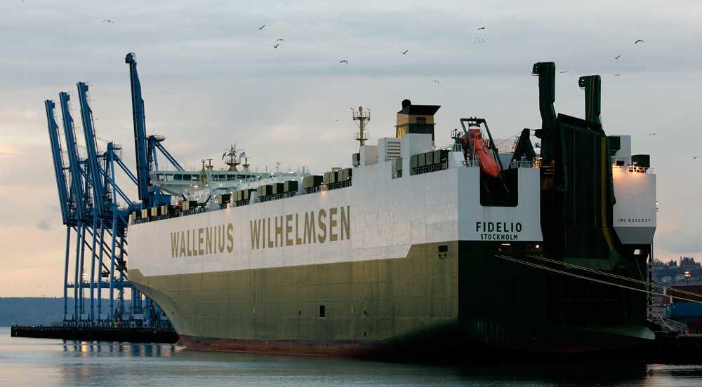 M/S Fidelio i hamn i Washington. Bilden är tagen vid ett tidigare tillfälle.