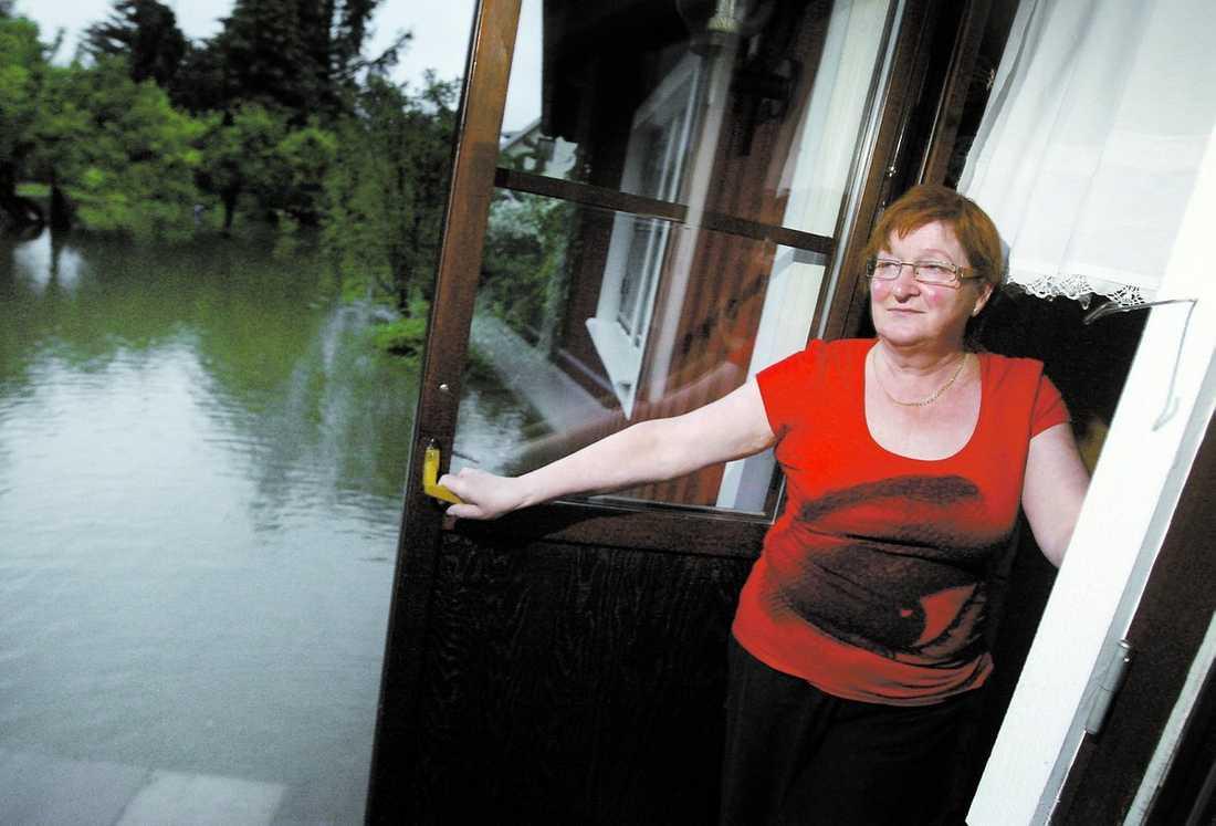Drabbad Raija Rintamäkis trädgård är redan helt översvämmad och för att ta sig till brevlådan behöver hon en båt.