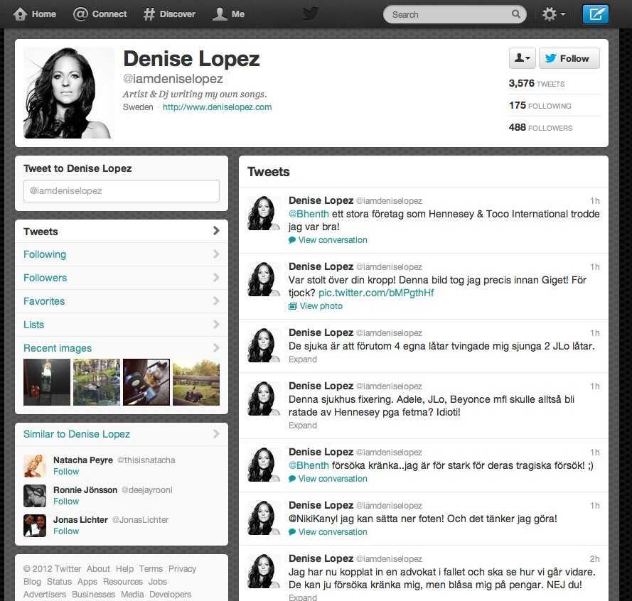 Denise Lopez var inte nöjd med hur hon behandlats och ventilerade ilskan på Twitter.