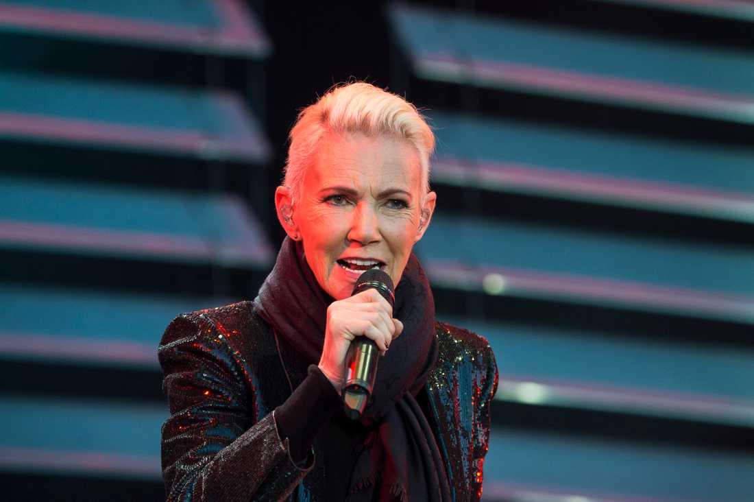 Marie Fredriksson vid en konsert med Roxette 2015. Arkivbild.