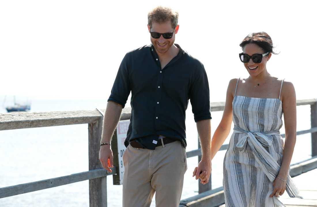 Storbritanniens prins Harry och hustrun Meghan vid ett besök i Australien 2018.