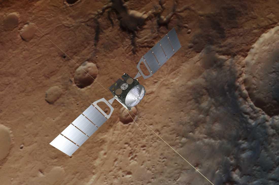 Den europeiska rymdfarkosten Mars Express. Med radarvågor från farkosten har forskare upptäckt en stor sjö med flytande vatten på planeten.