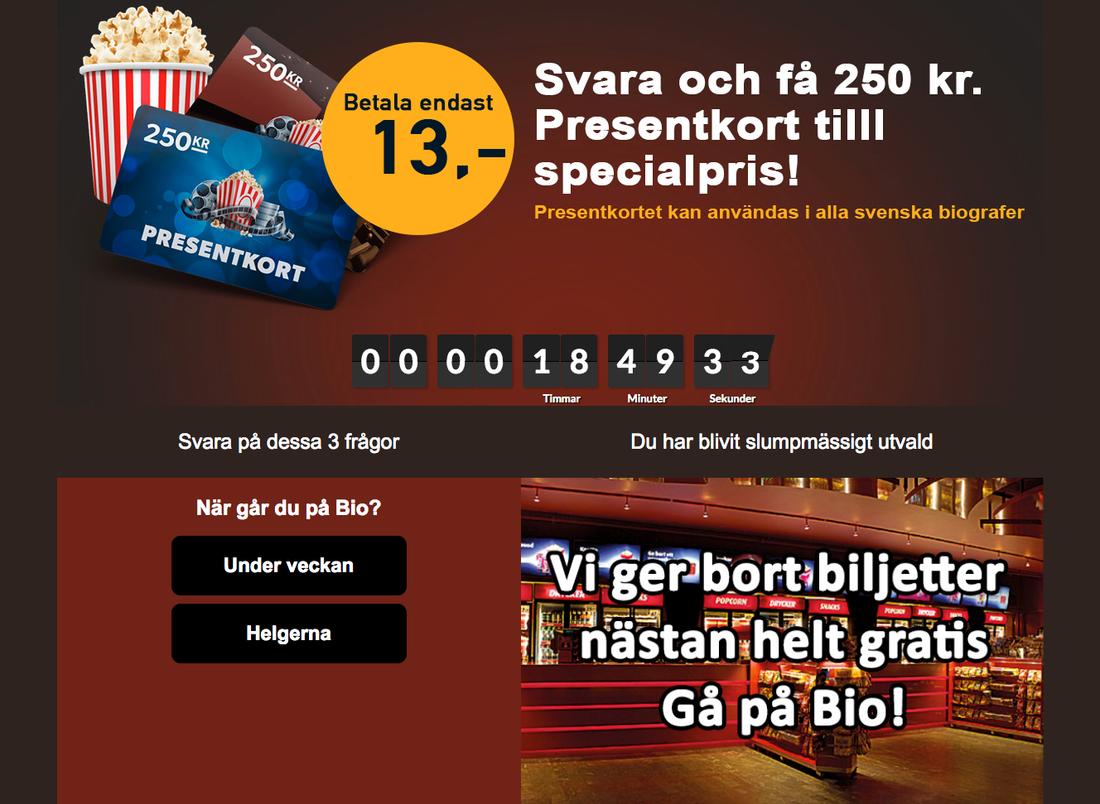 I sms:et finns en länk till denna hemsida där man får betala i hopp om att vinna biobiljetter.