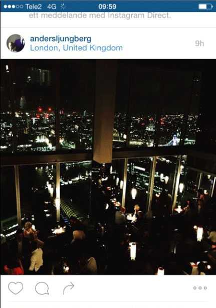 Anders Ljungberg uppaterade flitigt sitt konto på Instagram under resan.