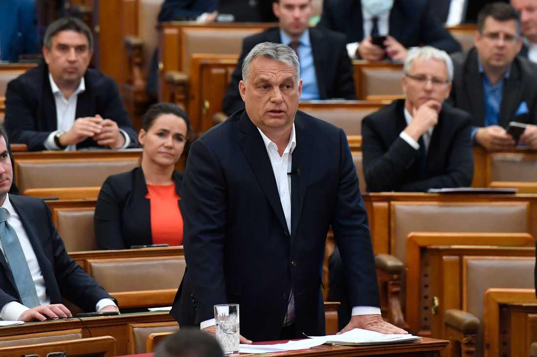 Ungerns premiärminister Viktor Orbán i parlamentet i Budapest i slutet av mars. Arkivbild.