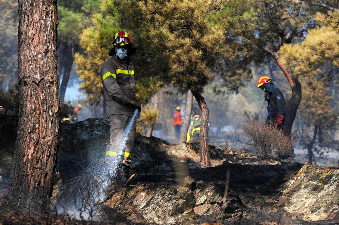 Grekiska brandmän gjorde ett fynd av gamla föremål. Bilden är tagen i ett annat sammanhang. Arkivbild.