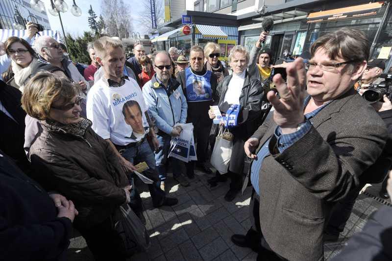 Timo Soini, Sannfinländarnas ledare. Partiet fick 19 procent av rösterna i det finländska valet.