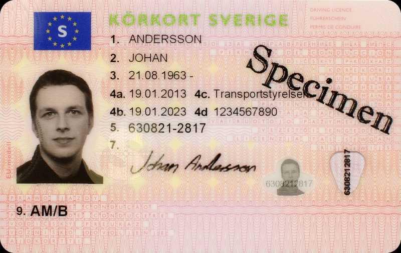 Och så här såg framsidan ut på det tidigare körkortet.