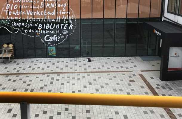 Väskan utanför kommunhuset.