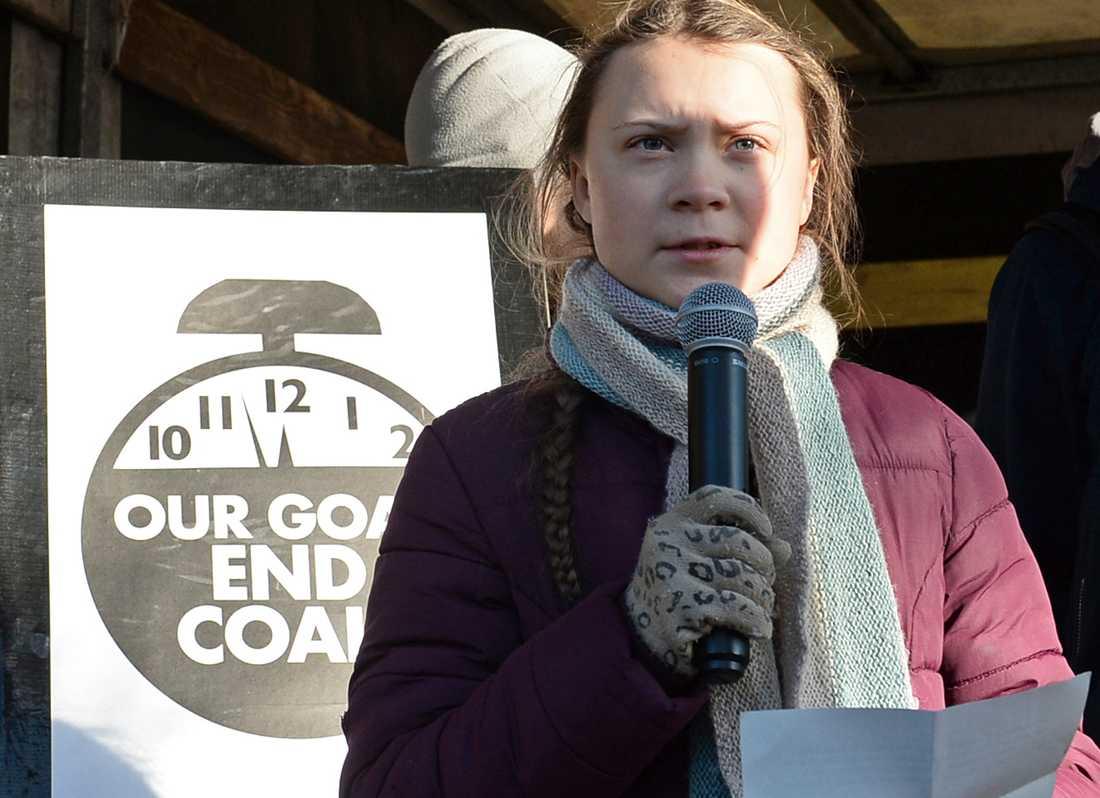 Greta Thunberg talar på klimatmötet i Polen i december.