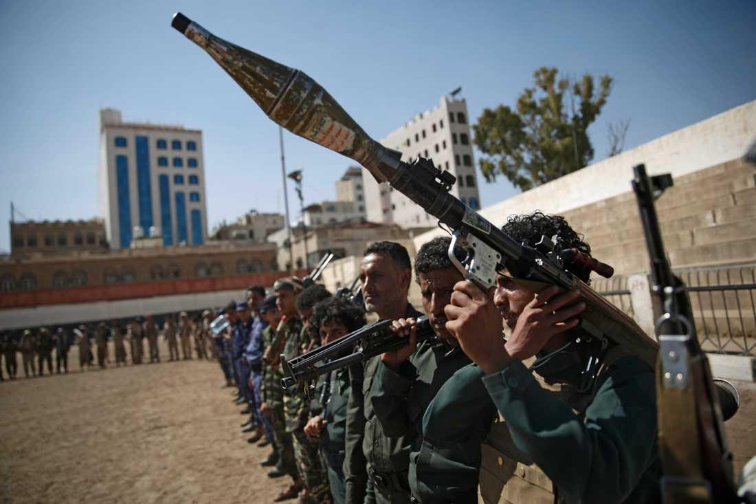 Huthirebellerna kontrollerar huvudstaden Sanaa och stora delar av norra Jemen. De stöttas av Iran. Arkivbild.