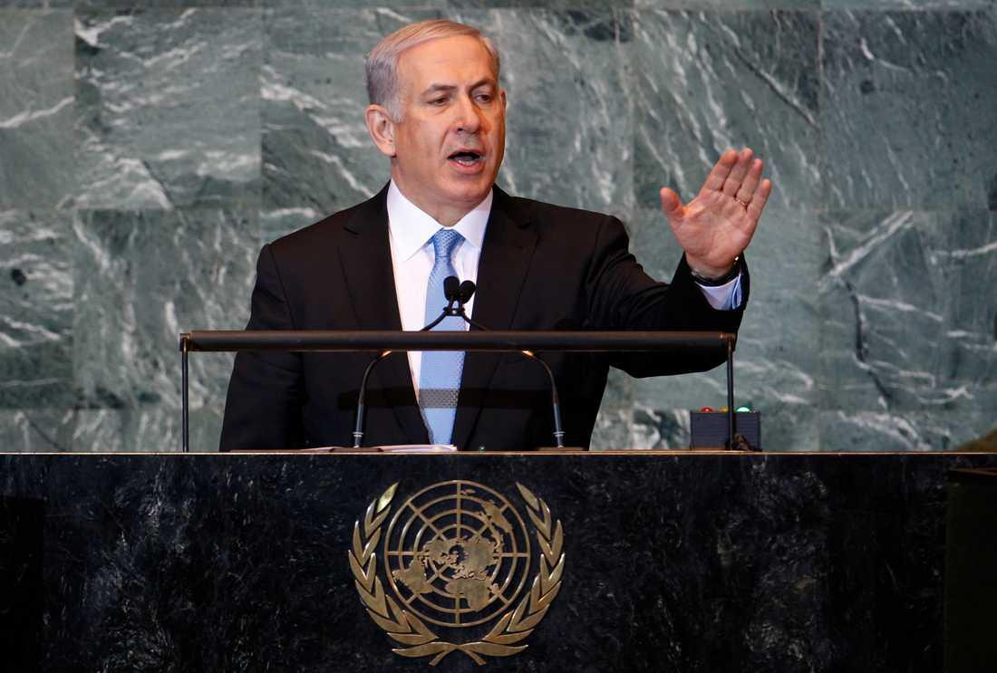 Israels premiärminister Benjamin Netanyahu i FN i kväll.