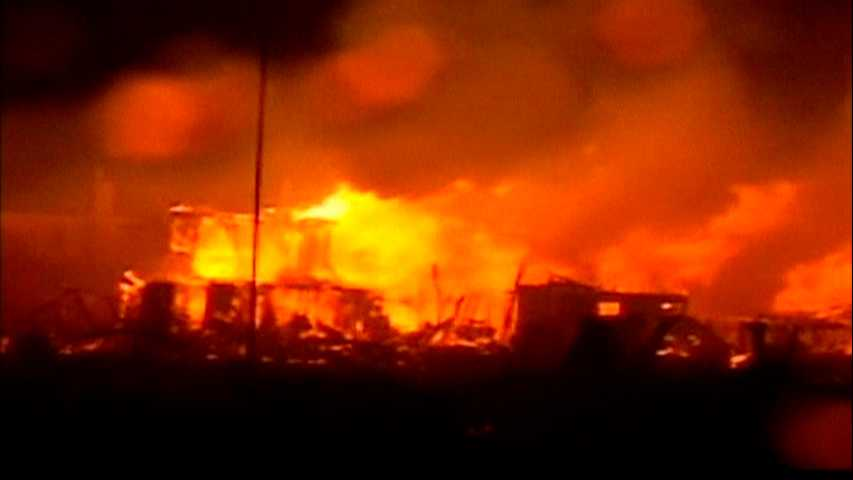 Branden som härjade över Breezy point under stormen.