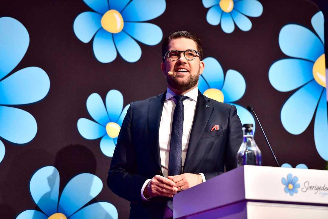 Sverigedemokraternas partiledaren Jimmie Åkesson håller stora tal inför partikamraterna.