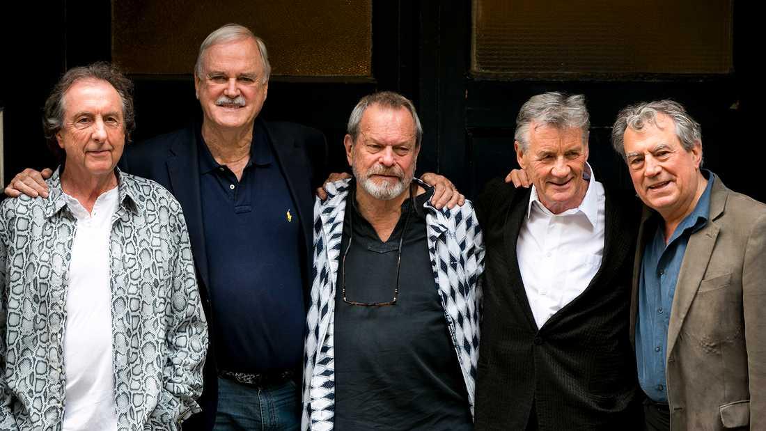 Monty Python-gänget 2014, från vänster Eric Idle, John Cleese, Terry Gilliam, Michael Palin och Terry Jones.