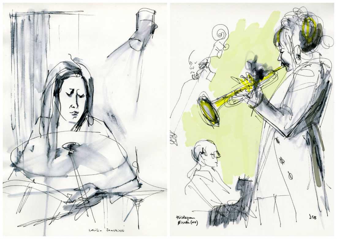 Cecilia Sanchietti och Hildegunn Oiseth tecknade av Jenny Svenberg Bunnel på Stockholm Women's international jazz festival