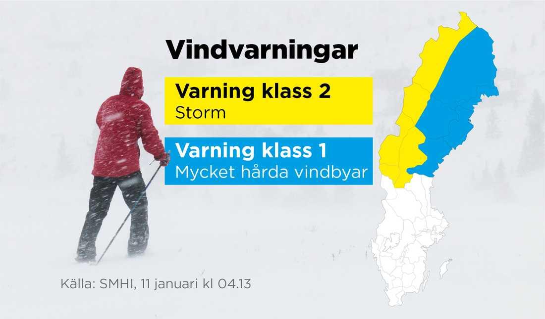 Det är varning för storm i Norrlandsfjällen.