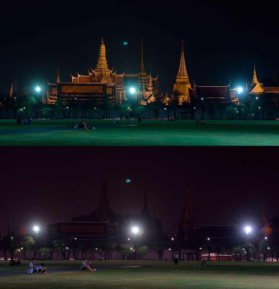 Bilder visar kungliga palatset i Bangkok med ljuset tänt respektive nersläckt.