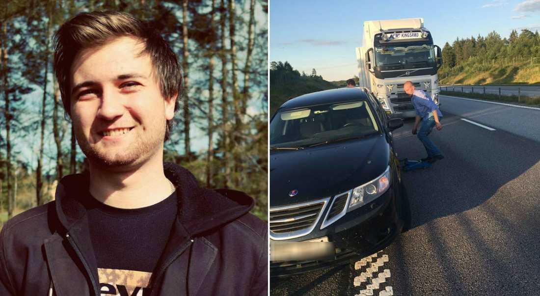 Daniel hyllar lastbilschauffören för hans insats vid däckbytet.