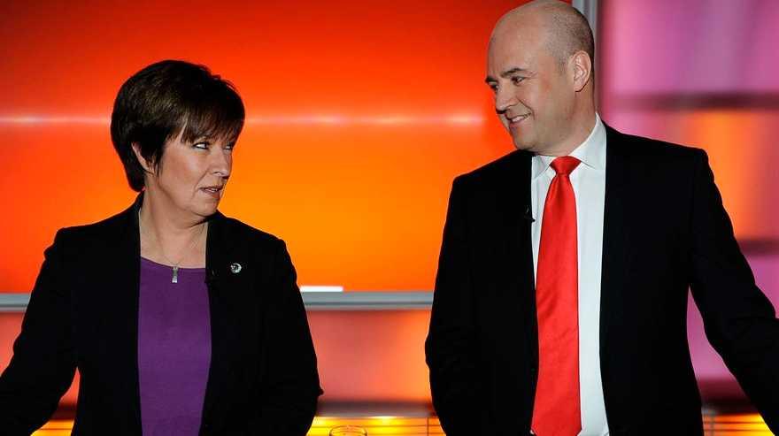 Reinfeldt och Sahlin i SVT:s debatt i början av maj.
