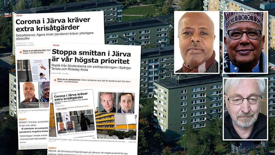 """""""Att förhindra smittspridningen på Järva är högsta prioritet"""", försäkrar M-politikerna. Men hittills har detta visat sig mer som prat än som riktig verkstad, skriver Kahin Ahmed, Mohamed Hagi Farah och Arne Johansson."""