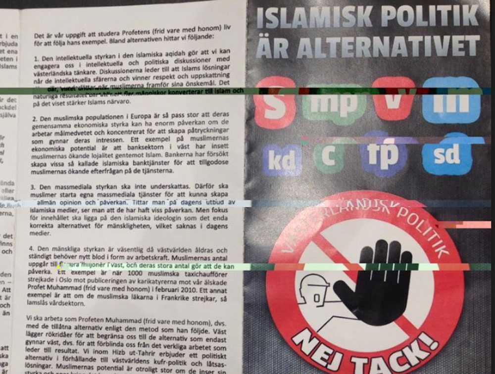 Broschyren som den islamistiska organisationen Hizb ut-Tahrir delade ut till medborgare i Tensta.