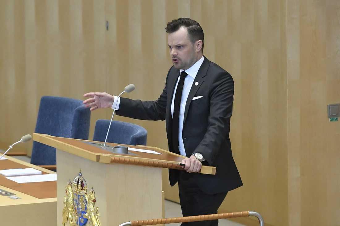 Sverigedemokraternas rättspolitiske talesperson Adam Marttinen. Arkivbild