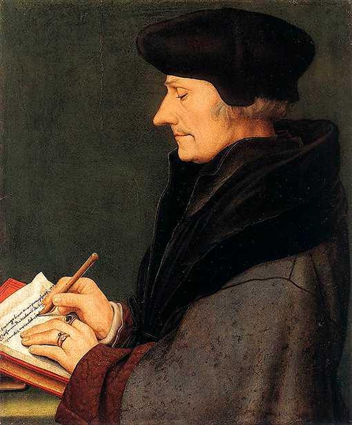 fullbokad Erasmus av Rotterdam (1466–1536) porträtterad av Hans Holbein d.y. Under 1530-talet stod den nederländske humanisten för cirka 20 procent av all bokutgivning i Europa.