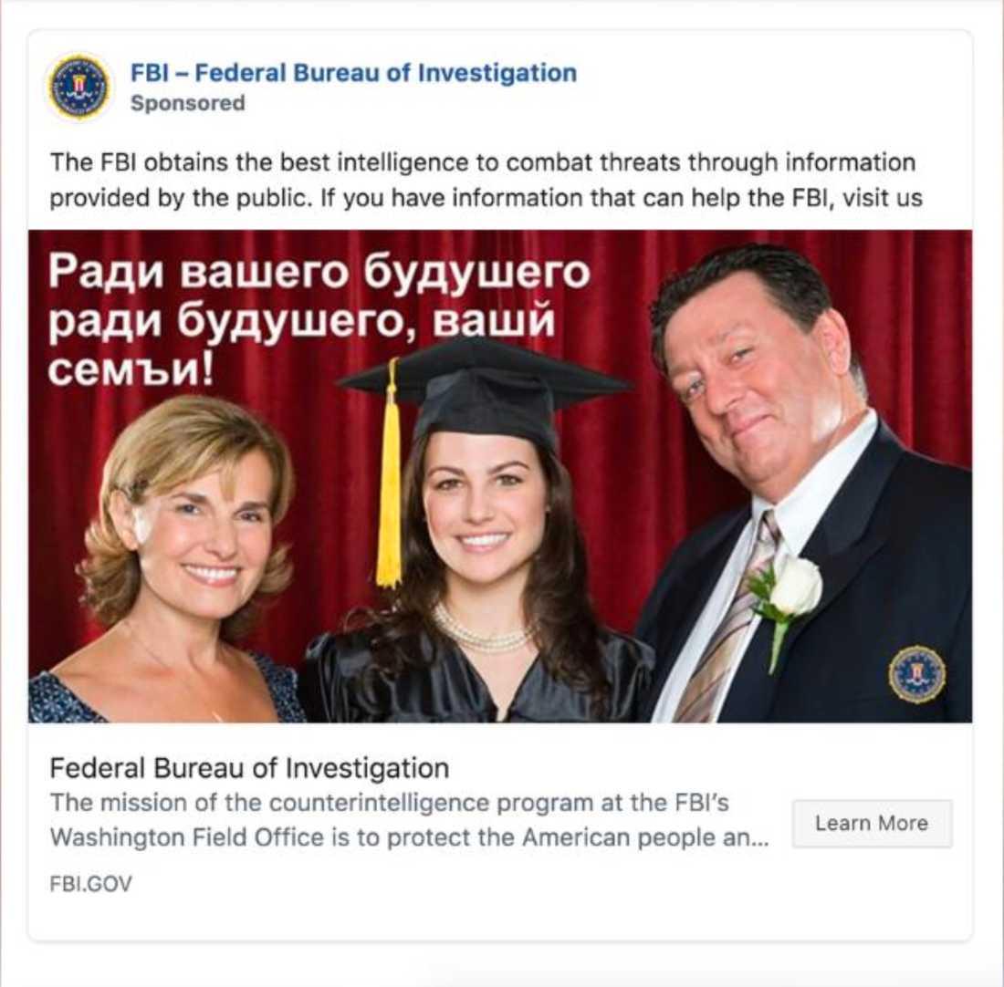 """FBI vill locka ryska spioner via Facebook: """"För din framtid, för din framtida familj"""""""