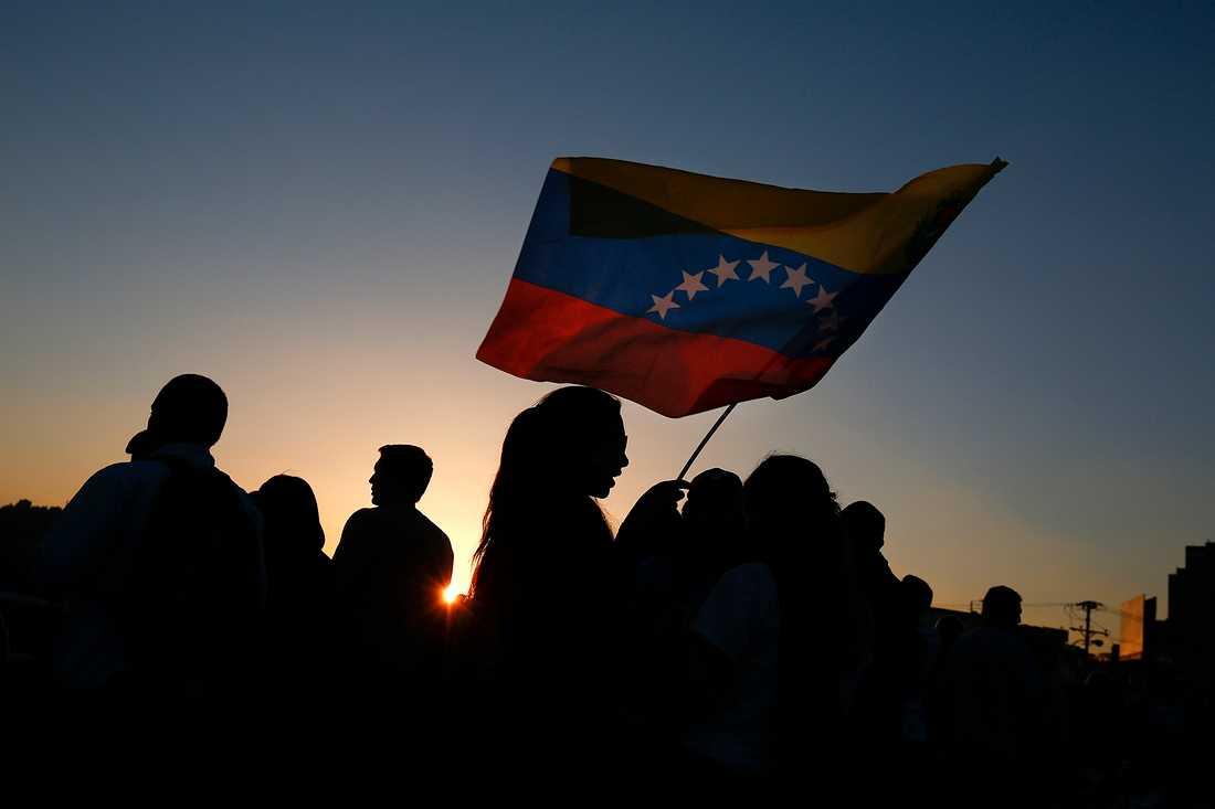 Oppositionella demonstranter i huvudstaden Caracas.