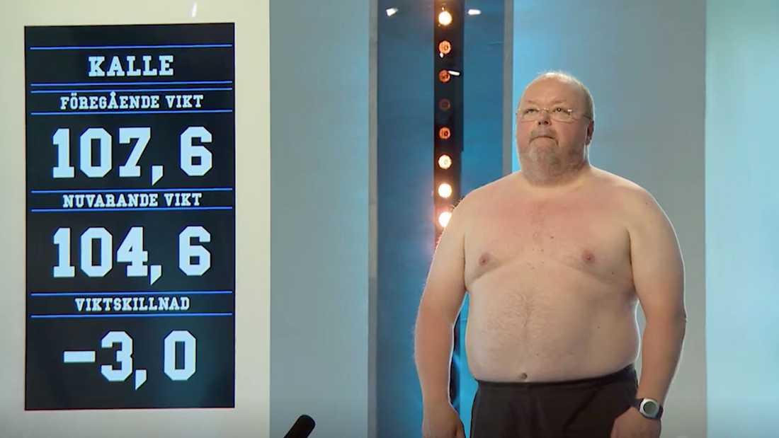 Minus tre kilo för Kalle Moraeus vid invägningen i kvällens avsnitt.