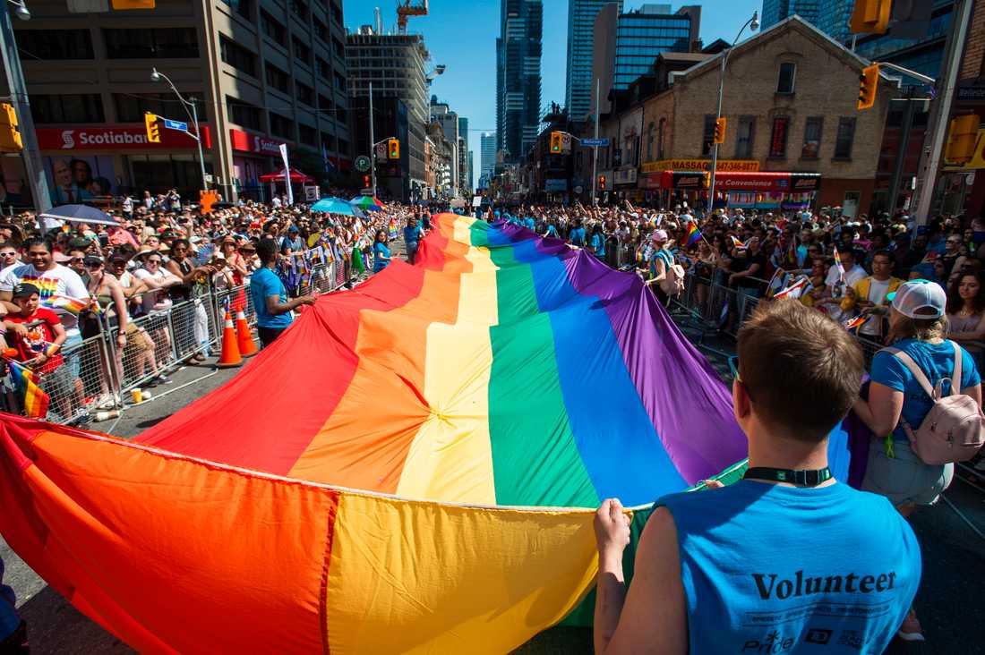 Förra helgens prideparad i Toronto i Kanada.
