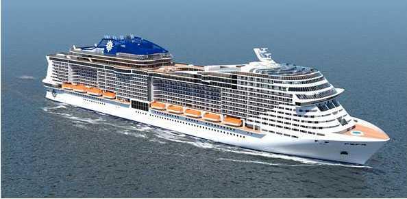 MSC Newbuild (ej döpta än) Två systerfartyg som får premiär 2017 respektive 2019. Längd 315 meter, bredd 43 meter. 167000 bruttonton, 5700 gäster.