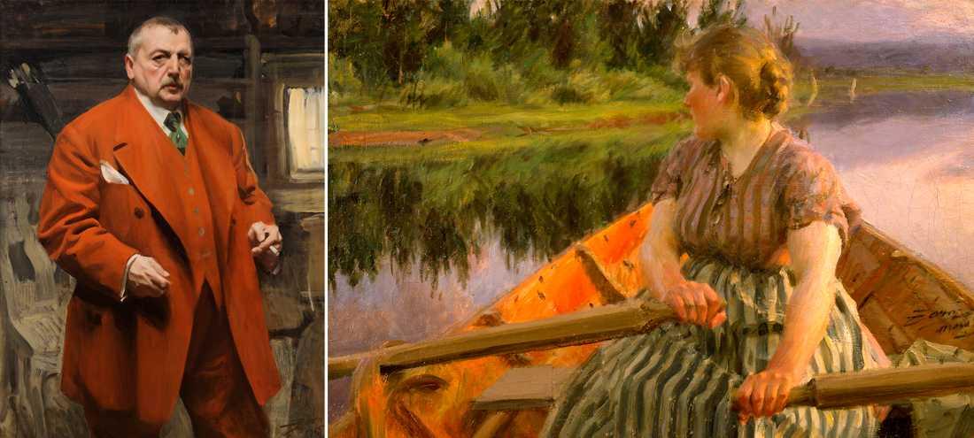"""Anders Zorn: """"Självporträtt i rött"""", 1915 samt """"Midnatt"""", 1891. Olja på duk."""