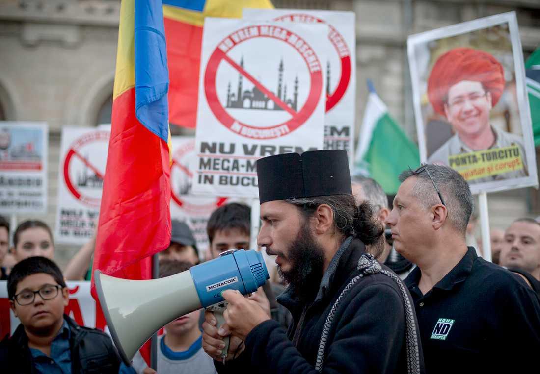 Demonstrationer mot invandring i Rumänien.