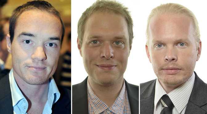Debattörerna Kent Ekeroth, Jonas Millard och Fredrik Eriksson.