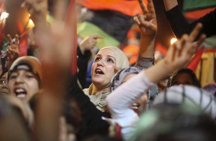 Även i Benghazi samlades folk på gatorna för att fira.