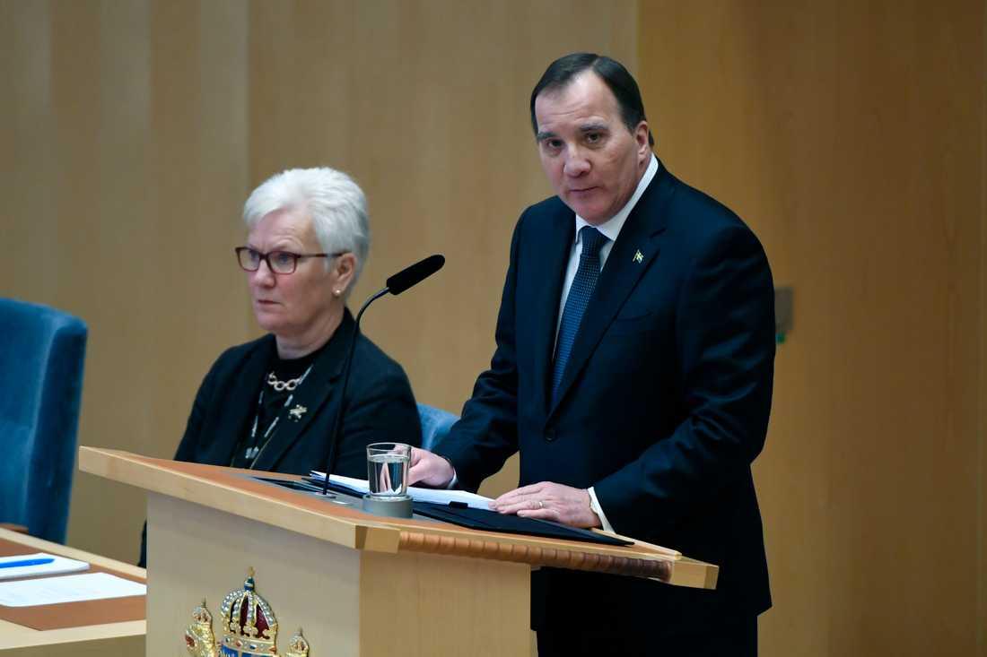 Stefan Löfven avger regeringsförklaringen.