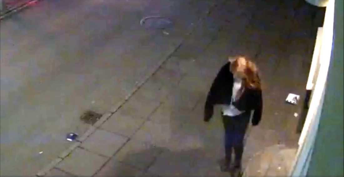 Övervakningsbild på Birna från natten hon försvann.