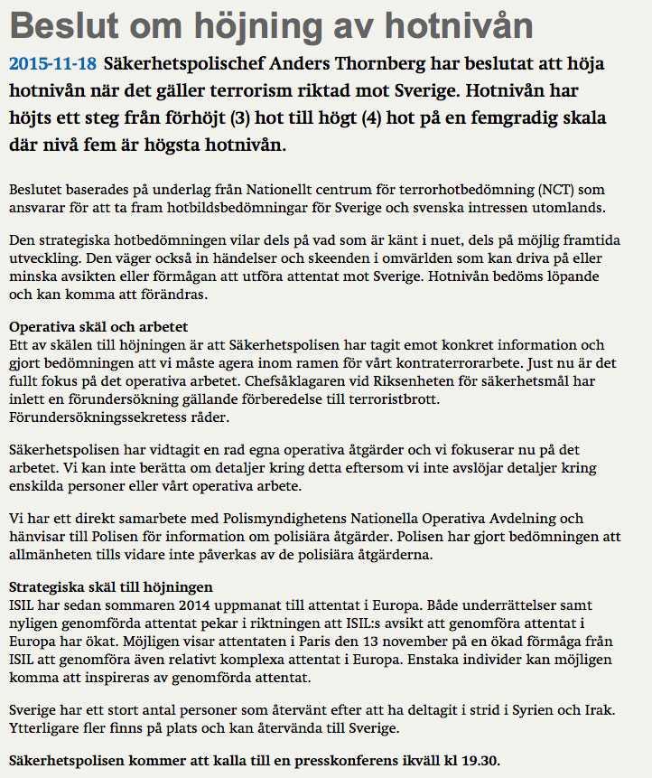 Informationen från Säpos hemsida.