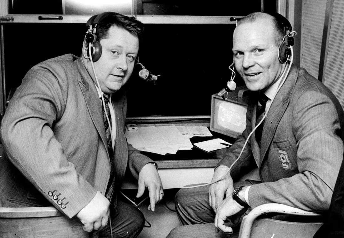 I studion med Rolle Stoltz under ishockeyvm 1974.