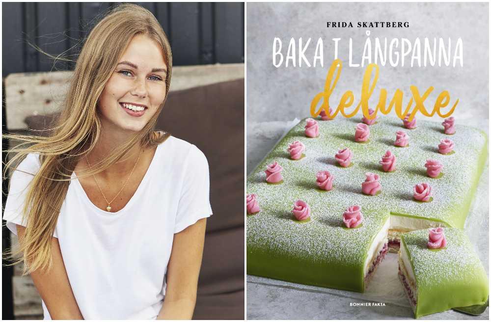 """Frida Skattberg med sin nya kokbok """"Baka i långpanna deluxe""""."""
